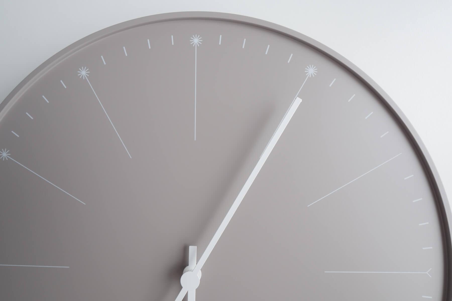 カバーの無い外観で時針と分針がむき出し状態になっている裸剣時計