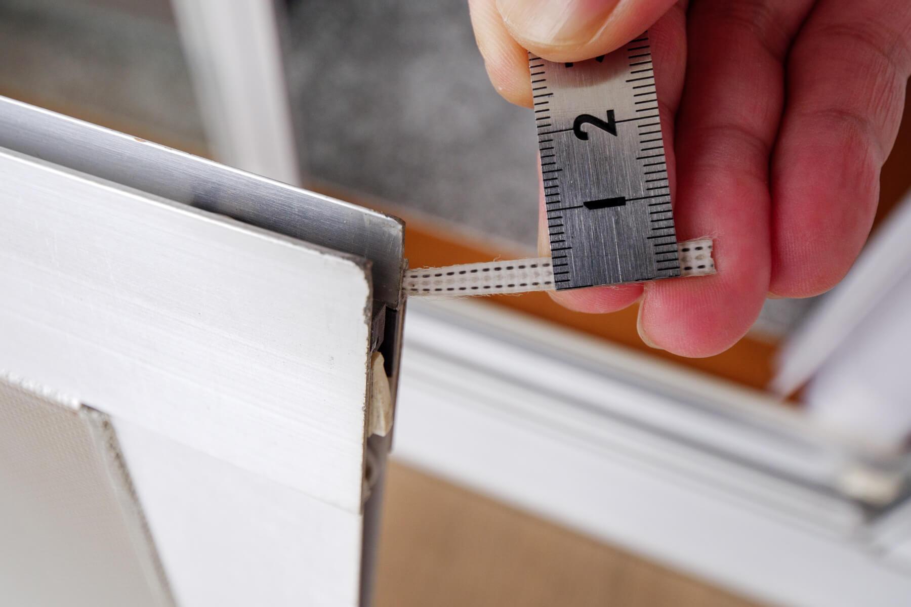 モヘアのベース幅を測定する